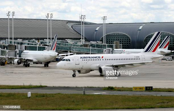 Air France aircrafts are parked on the tarmac at Paris Charles de Gaulle airport on June 18, 2020 in Roissy-en-France, France. The airline company...