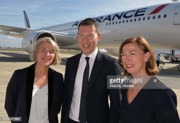 Air France Chief Executive Officer Anne Rigail the President and CEO of Air France Benjamin Smith and Air France KLM group Chairman AnneMarie Couderc...