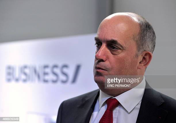 Air France Chief Officer for long-haul passenger activity Bruno Matheu talks to journalists at French aerospace equipment group's Zodiac Seats France...