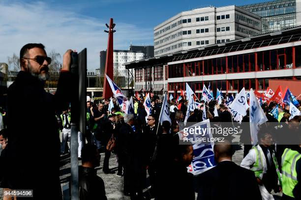 Air France employees stage a demonstration during a twoday strike on April 11 2018 in front of headquarters of Air France at Paris Charles de Gaulle...