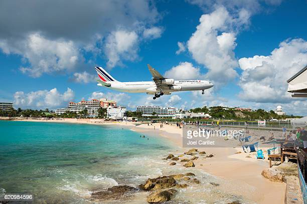 Air France flying over Maho Beach, St. Maarten