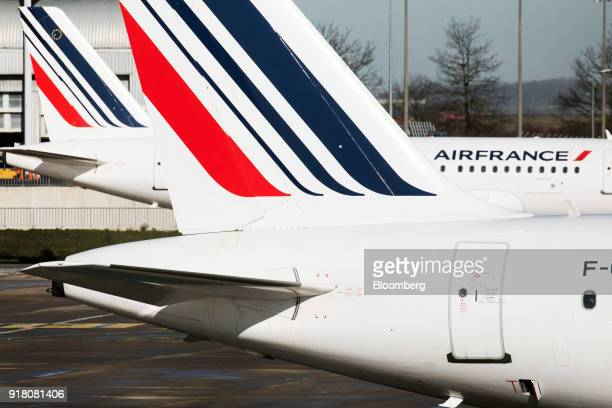 Air France passenger aircraft operated by Air FranceKLM Group stands on the tarmac at Charles de Gaulle airport operated by Aeroports de Paris in...