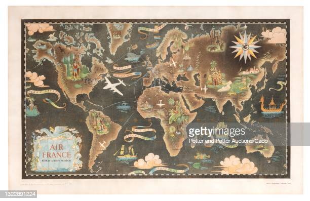 """""""Air France"""" pictorial map poster depicting global service routes and iconic attractions awaiting travelers at each destination, illustrated by..."""