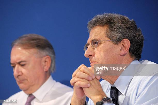 Air France-KLM group chairman and CEO Jean-Cyril Spinetta and CFO Philippe Calavia listen during a press conference to present the Air France KLM...