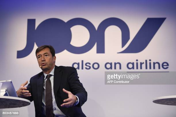 Air France's General Director Franck Terner speaks on September 25 2017 in Paris during the launching of Joon the new lowercost airline subsidiary of...