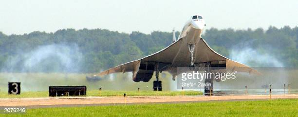 Air France's oldest Concorde FBVFA lands June 12 2003 at Washington Dulles International Airport Air France is donating the supersonic jet to the...