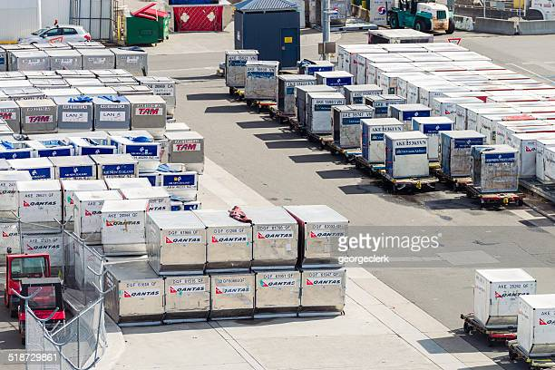 air freight containers ready - cargo airplane stock photos and pictures
