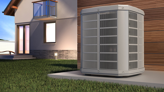 Air heat pump and house, 3D illustration 1075473092
