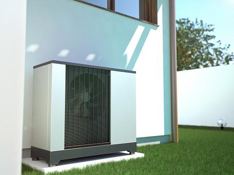Air heat pump beside house, 3D illustration 1075473126