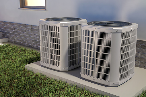Air heat pumps and house, 3D illustration 1139659627