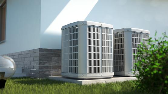Air heat pumps beside house 1148634878