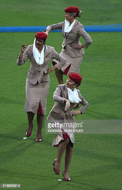 Air hostesses rehearse a Bollywood dance routimne for the final during a West Indies training session at The Eden Gardens Cricket Stadium in Kolkata...