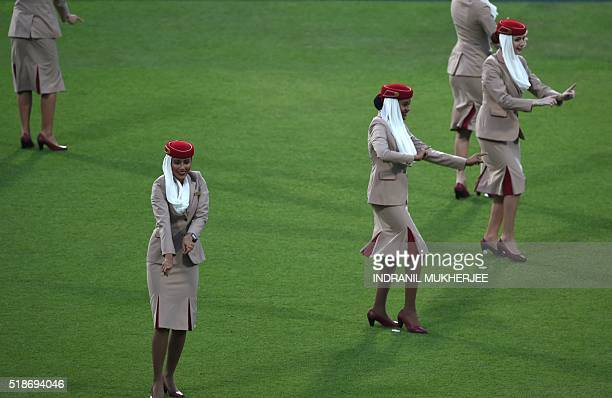 Air hostesses rehearse a Bollywood routine during a West Indies training session at The Eden Gardens Cricket Stadium in Kolkata on April 2 on the eve...