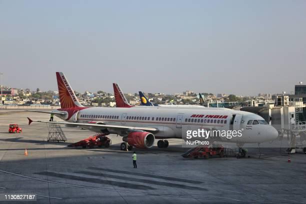 Air India airplanes at Chhatrapati Shivaji Maharaj International Airport in Mumbai Maharashtra India The airport is the second busiest airport in...