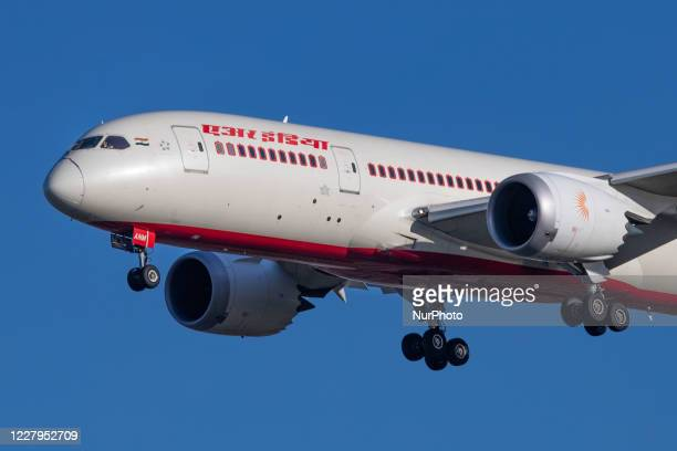 Air India Boeing 787 Dreamliner aircraft as seen on final approach flying for landing at London Heathrow International Airport LHR EGLL in England,...