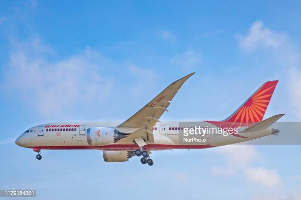 Air India Boeing 7878 Dreamliner airplane as seen on final approach landing at London Heathrow International Airport LHR EGLL in England UK The long...