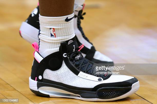 Air Jordan shoes are seen worn by Zion Williamson of the New Orleans Pelicans as he warms up before a game against the Boston Celtics at the Smoothie...