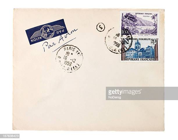 Air mail envelope with 1959 Paris postmark and French stamps