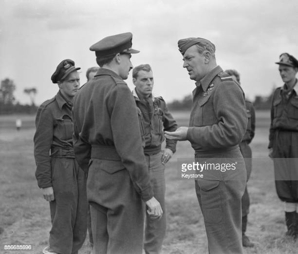 Air Marshal Arthur Coningham commander of the 2nd Tactical Air Force visits the 9th Air Force Field in France during World War II 12th July 1944 He...