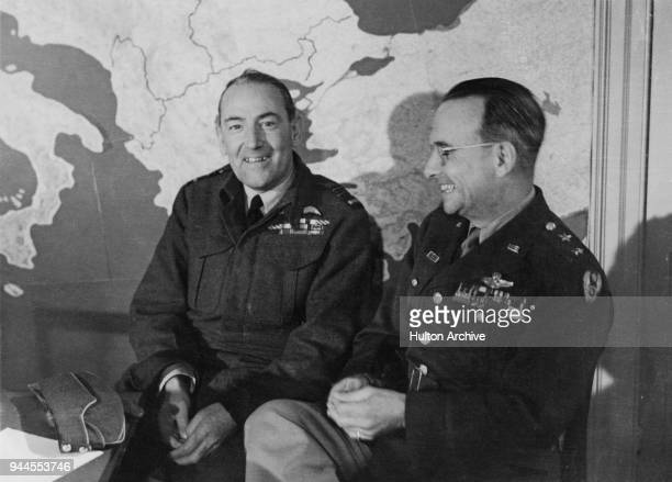 Air Marshal Sir Arthur Coningham of the RAF Air Officer Commanding 2nd Tactical Air Force and Major General Lewis H Brereton Commanding General of...