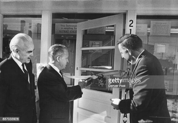 Air Monitoring Station Opened William McGlone left chairman of the State Board of Health Walter Swan center administrative assistant to Gov John Love...