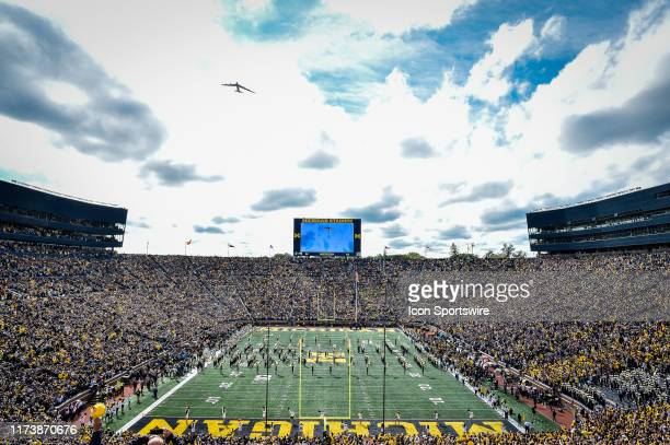 Air National Guard B52H flies over Michigan Stadium prior to the Michigan Wolverines versus Iowa Hawkeyes game on Saturday October 5 2019 at Michigan...