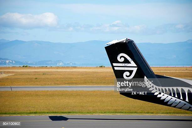 air new zealand all blacks theme livery aeroplane tail - all blacks rugby team stock pictures, royalty-free photos & images