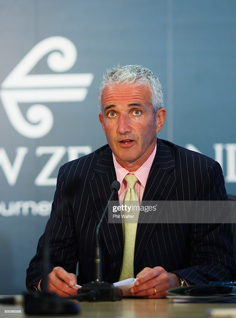 Air New Zealand CEO Rob Fife speaks to media at a press conference to announce the Air New Zealand half yearly financial results at their head office on February 26, 2009 in Auckland, New Zealand. The airlines half year earnings dropped 84 percent to $26 million for the six-month period to the end of 2008.