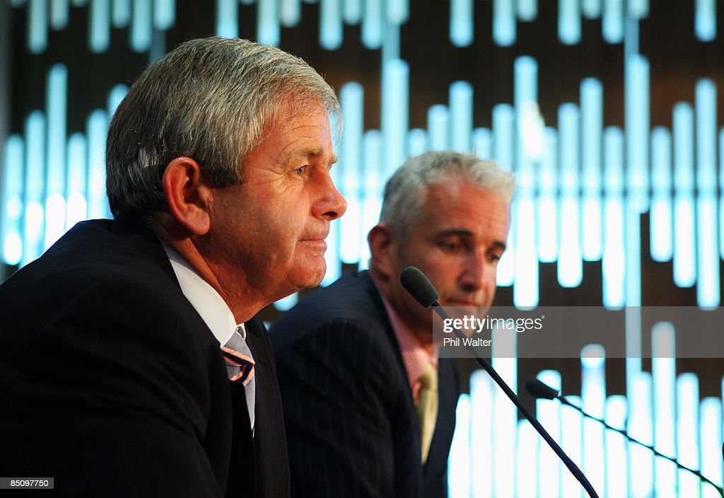 Air New Zealand Chairman John Palmer (L) and CEO Rob Fife (R) speak to media at a press conference to announce the Air New Zealand half yearly financial results at their head office on February 26, 2009 in Auckland, New Zealand. The airlines half year earnings dropped 84 percent to $26 million for the six-month period to the end of 2008.