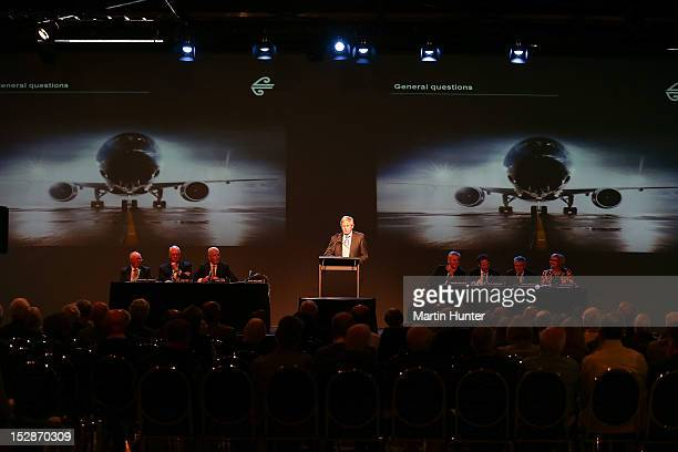 Air New Zealand chairman John Palmer speakes during the Air New Zealand annual general meeting at Wigram on September 28 2012 in Christchurch New...