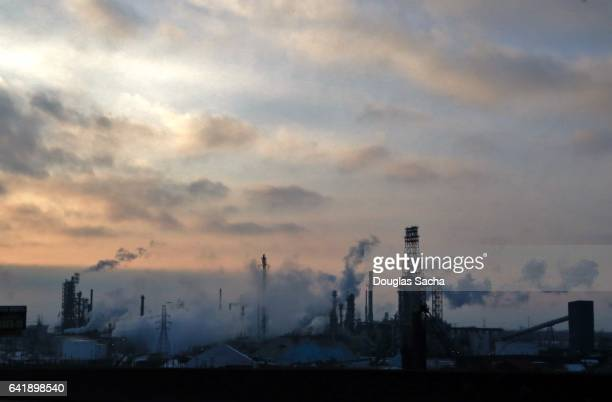 air pollution from industrial smoke stacks - acid rain stock photos and pictures