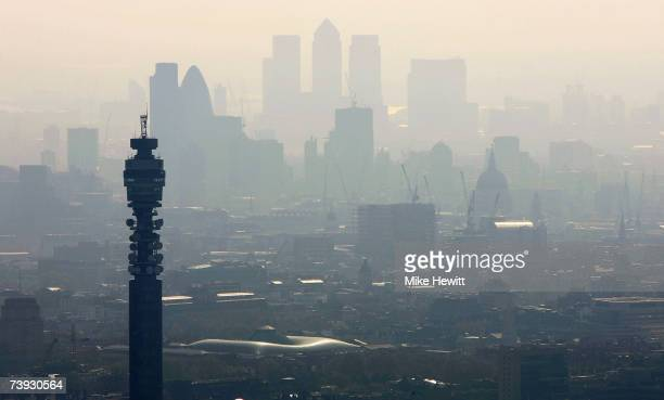 Air pollution hangs over the heart of London in this view of the BT Tower looking towards the city on April 20 2007 in London England