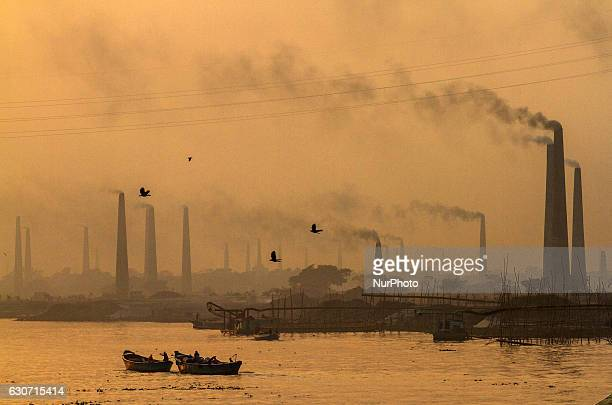 Air pollution is a common sight in Narayangonj Bangladesh on 31 December 2016 Specially brickfields chimney causes the most pollution At the time of...