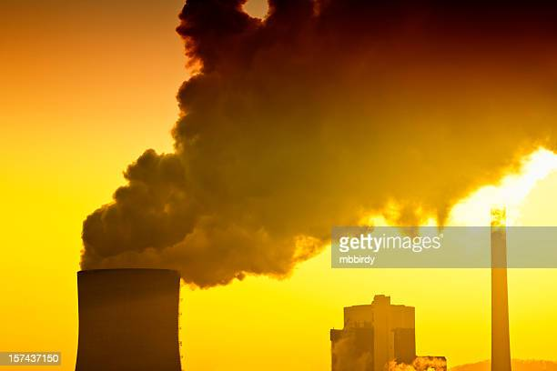air pollution of heavy industry - carbon dioxide stock photos and pictures