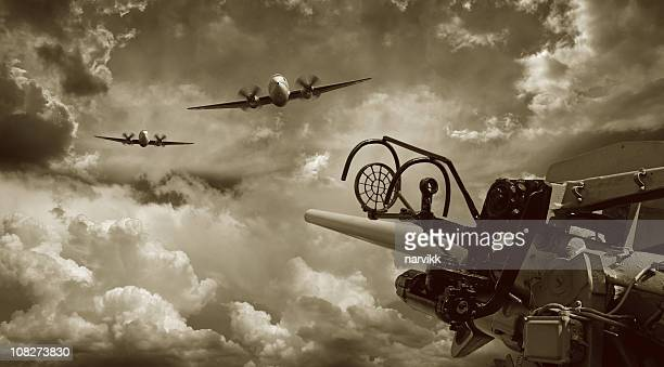 air raid and anti aircraft machine gun - world war ii stock pictures, royalty-free photos & images