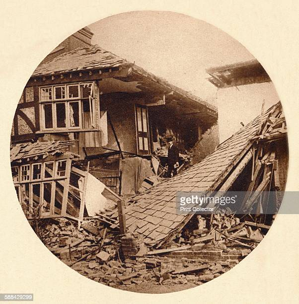Air raid damage in Croydon 1915 Houses in Eridge Road damaged by bombs dropped from German Zeppelins From King Emperor's Jubilee by F G H Salusbury