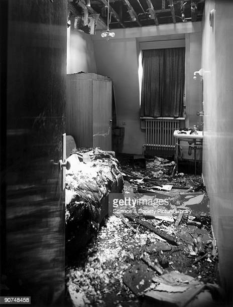 Air raid damage to a room at the Great Western Royal Hotel Paddington Station London 20 February 1944 The Great Western Royal Hotel was designed by...