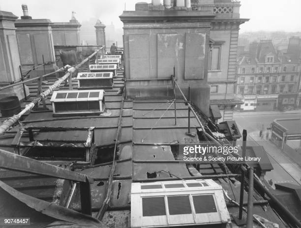Air raid damage to the roof of the Great Western Royal Hotel Paddington Station London Second World War 20 February 1944 The hotel was designed by...