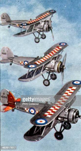 Air Raid Precautions cigarette card British 1938 Gloucester Gauntlet interceptor fighters One of a set of 50 cards issued by WD HO Wills in...
