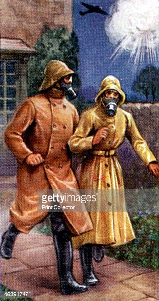 Air Raid Precautions cigarette card British 1938 Rubber clothing which the Government recommended citizens to wear to protect themselves from gas if...