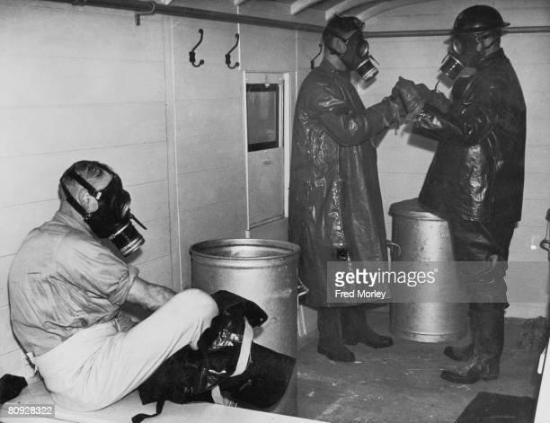 Air raid wardens in a gas decontamination coach operating on the Great Western Railway 10th February 1941