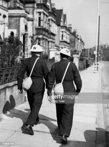 Air raid wardens in Lambeth 29th March 1940 Their helmets are newly painted white for visibility at night or during the blackout
