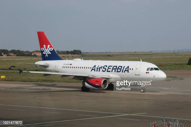 Air Serbia as seen on August 21 2018 in Belgrade Serbia the flag carrier of the country The airline operates a 21 aircraft fleet from the main hub...
