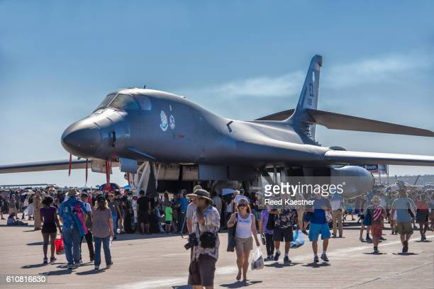 Air show crowds get up close and personal to a Rockwell B-1 Lancer bomber.