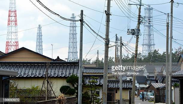 Air stacks of Tokyo Electric Power Co's Kashiwazaki Kariwa Nuclear Power Plant are seen from Arahama area located only a kilometer from the plant on...