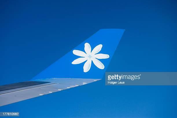 Air Tahiti Nui Airbus A340 wing with Tiare logo