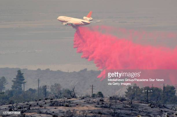 Air tanker makes a phos chek during the Bobcat Fire in Juniper Hills on Saturday September 19 2020