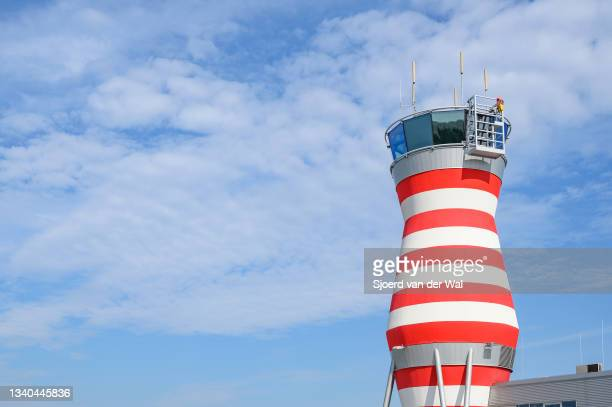 Air traffic control tower at Lelystad airport on September 14, 2021 in Lelystad, The Netherlands. The expansion of the airport to facilitate...