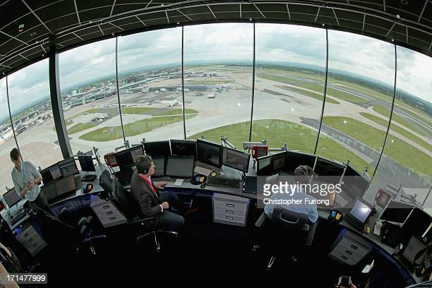 Air traffic controllers test the new systems inside Manchester Airports new air traffic control tower on June 25 2013 in Manchester England...