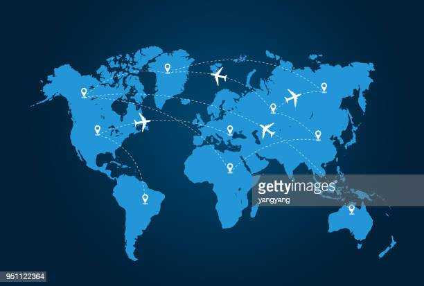 air traffic - world map stock photos and pictures